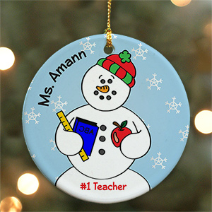 Personalized Ceramic Teacher Snowman Ornament U451110