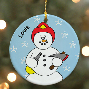 Personalized Ceramic Fireman Snowman Ornament | Personalized Firefighter Ornaments