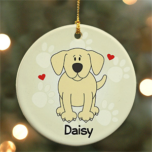 Personalized Ceramic Loved By My Yellow Lab Ornament | Personalized Pet Ornaments