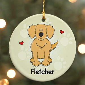 Personalized Ceramic Loved By My Golden Retriever Ornament