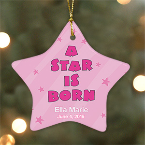 Personalized Ceramic Baby Girl Star Ornament U480426