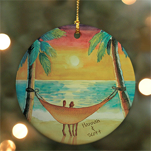 Personalized Ceramic Beach Sunset Ornament U528410