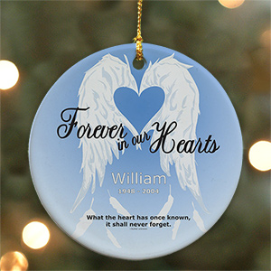 Personalized Forever In Our Hearts Ceramic Ornament | Memorial Ornaments