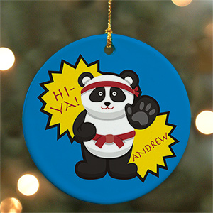 Personalized Ceramic Karate Panda Ornament | Personalized Sports Ornaments