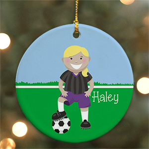 Personalized Ceramic Girl Soccer Ornament | Personalized Soccer Ornaments