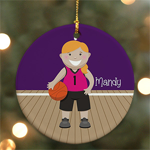 Personalized Ceramic Girl Basketball Ornament | Personalized Basketball Ornament