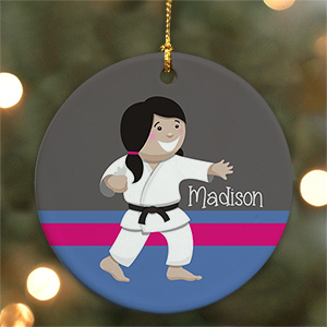 Personalized Ceramic Girl Karate Ornament U722410