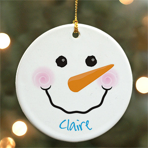 Personalized  Snowman Ceramic Ornament