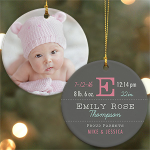 New Arrival Personalized Ornament | Baby's First Christmas Ornaments
