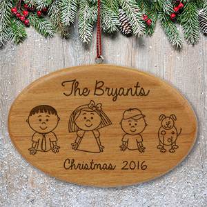 Engraved Stick Figure Wooden Ornament | Christmas Ornaments Personalized
