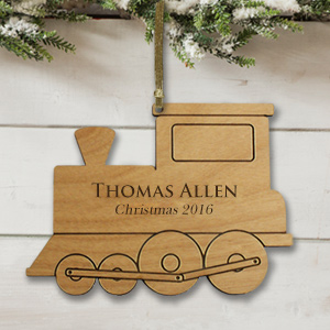 Personalized Train Ornament | Wood | Personalized Christmas Ornaments for Kids