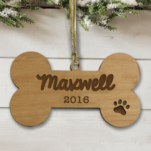 Personalized Dog Bone Wooden Ornament W87650