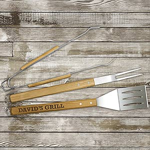 Engraved Wood Grilling Tool Set