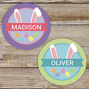 Personalized Bunny Ears Kids Stickers
