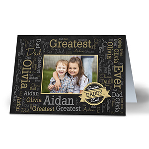 Greatest Dad Photo Word-Art Card | personalized word art