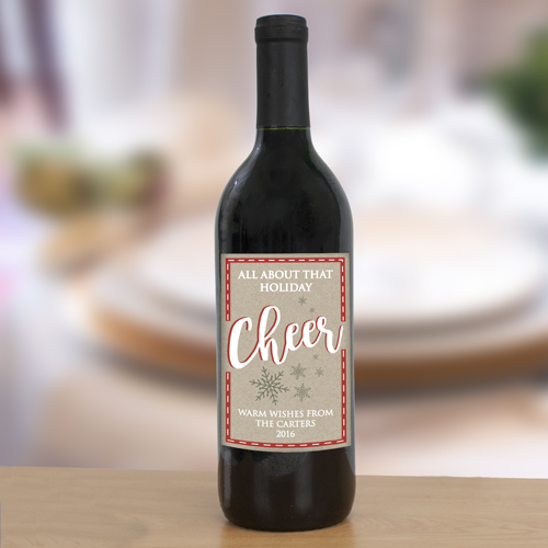 Personalized Holiday Cheer Wine Bottle Labels 11080611X