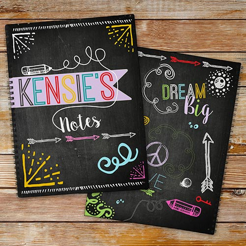 Personalized Chalkboard Notebook Set | Personalized School Supplies