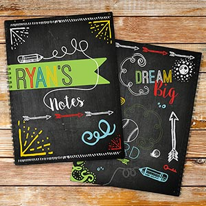 Personalized Chalkboard Notebook Set for Boys | Personalized School Supplies