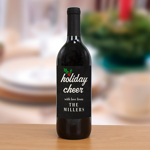 Personalized Holiday Wine Bottle Label