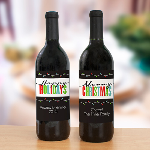 Personalized Happy Holidays Wine Bottle Label