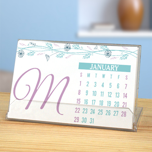 Personalized Floral Initial Desk Calendar