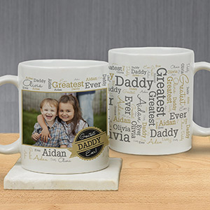 Personalized Greatest Dad Photo Word-Art Mug