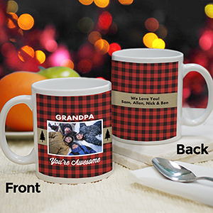 Personalized Buffalo Plaid Mug | Personalized Christmas Mugs