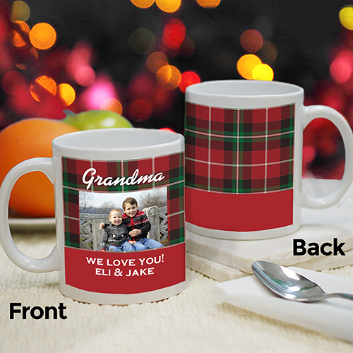 Personalized Grandma Plaid Photo Mug | Personalized Christmas Mugs