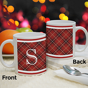 Personalized Initial Plaid Mug | Personalized Christmas Mugs