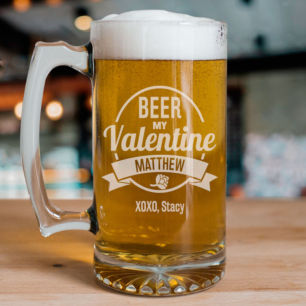 Engraved Beer My Valentine Glass Mug | Valentine's Day Mugs