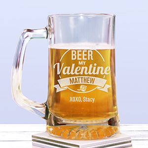 Engraved Beer My Valentine Glass Mug 2110041