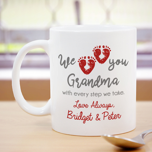 Personalized We Love You With Every Step Mug | Personalized Grandma Gifts