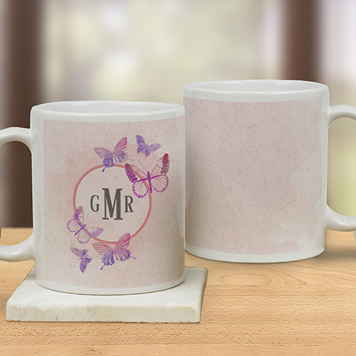 Monogrammed Butterflies Mug | Personalized Mugs