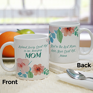 Personalized Behind Every Great Kid Mug | Personalized Mom Mugs