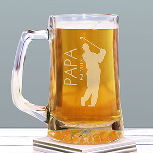 Engraved Golfer Glass Mug | Custom Mug