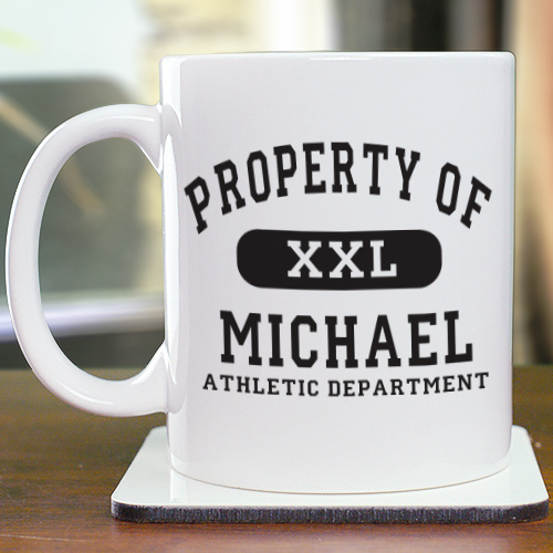 Property of Athletic Personalized Ceramic Coffee Mugs | Customizable Coffee Mugs