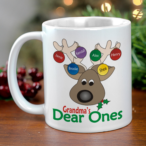 Dear Ones Personalized Christmas Coffee Mug | Customizable Coffee Mugs