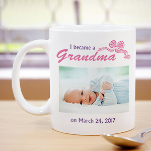 I Became A...New Baby Girl Personalized Photo Coffee Mug | Personalized Grandma Gifts