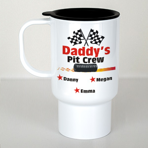 Personalized Pit Crew Travel Mug | Custom Coffee Mug