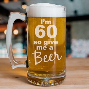 Give Me A Beer Personalized 60th Birthday Glass Mug