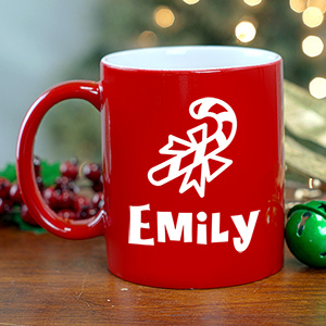 Candy Cane Hot Chocolate Personalized Red Coffee Mug | Personalized Christmas Mugs