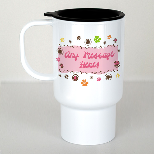 Personalized Floral Retro Travel Mug | Personalized Travel Mug