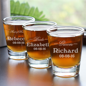 Personalized Wedding Shot Glass | Custom Groomsmen Shot Glasses
