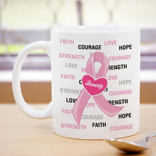 Hope and Love Breast Cancer Awareness Mug | Customizable Coffee Mugs