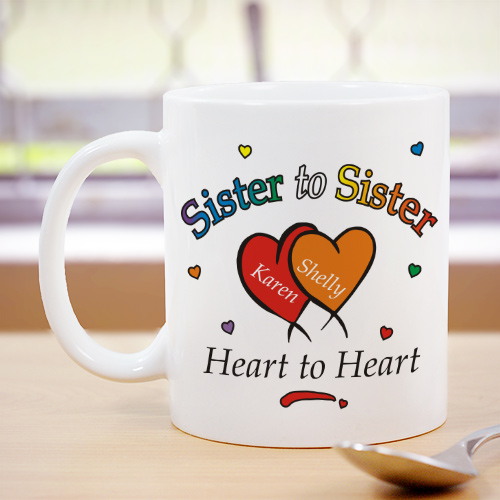 Heart to Heart Sisters Coffee Mug | Customizable Coffee Mugs