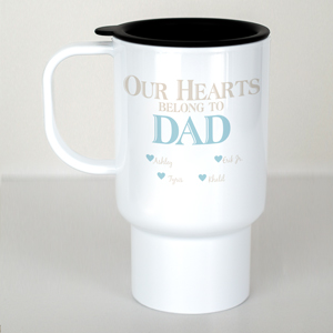 Personalized Our Hearts Belong To Him Travel Mug | Dad Mugs