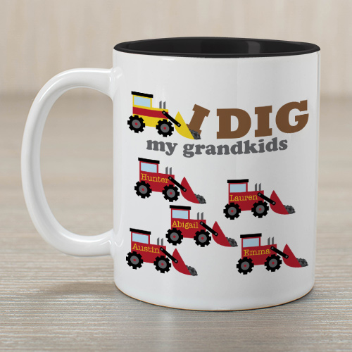 Personalized I Dig My Kids Mug | Customizable Coffee Mug