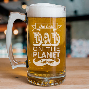 Engraved Best Dad Glass Mug | Bar Gifts for Dad