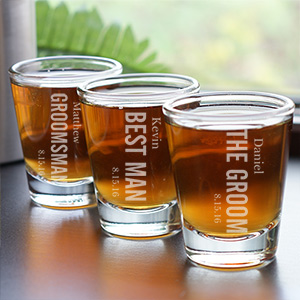 Engraved Wedding Party Shot Glass | Custom Groomsmen Shot Glasses