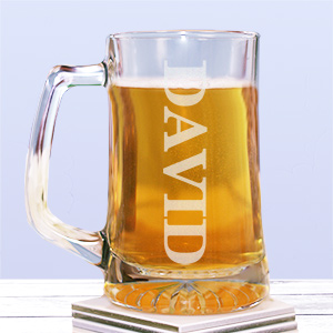 Engraved Glass Beer Mug 278371
